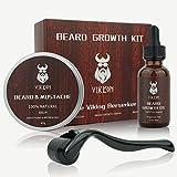 Beard Growth Kit, VIKICON Bartpflege Set, Bartwachstum Kit für Männer, Bart Derma Roller...
